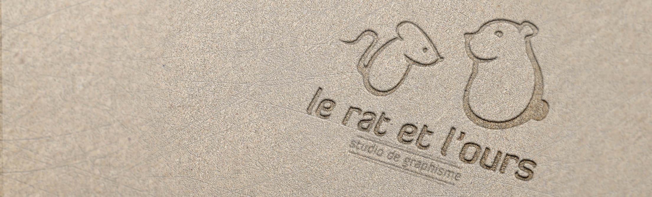Logo le rat et l'ours graphiste en impression typographique (relief)
