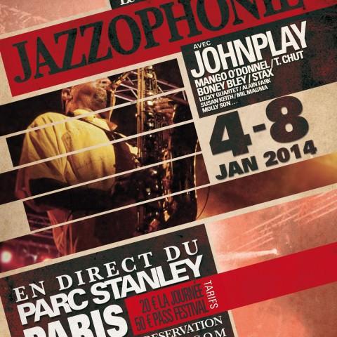 Flyer coté recto pour un festival de jazz créé par le rat et l'ours graphiste
