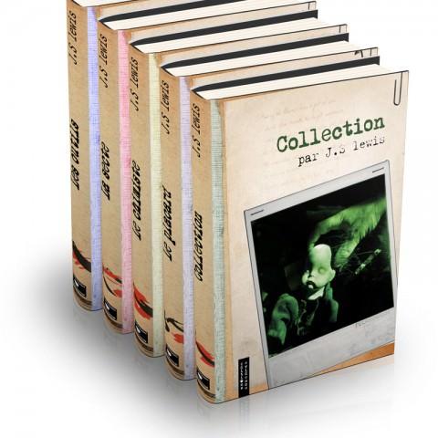 Couvertures de la collection complète de livres romans noirs mises en situation créées par le rat et l'ours graphiste