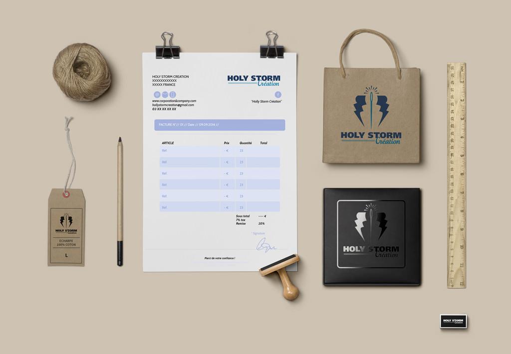Mise en situation de logo logotype pour l activité de couture d une créatrice Bisontine par le rat et l ours graphiste.