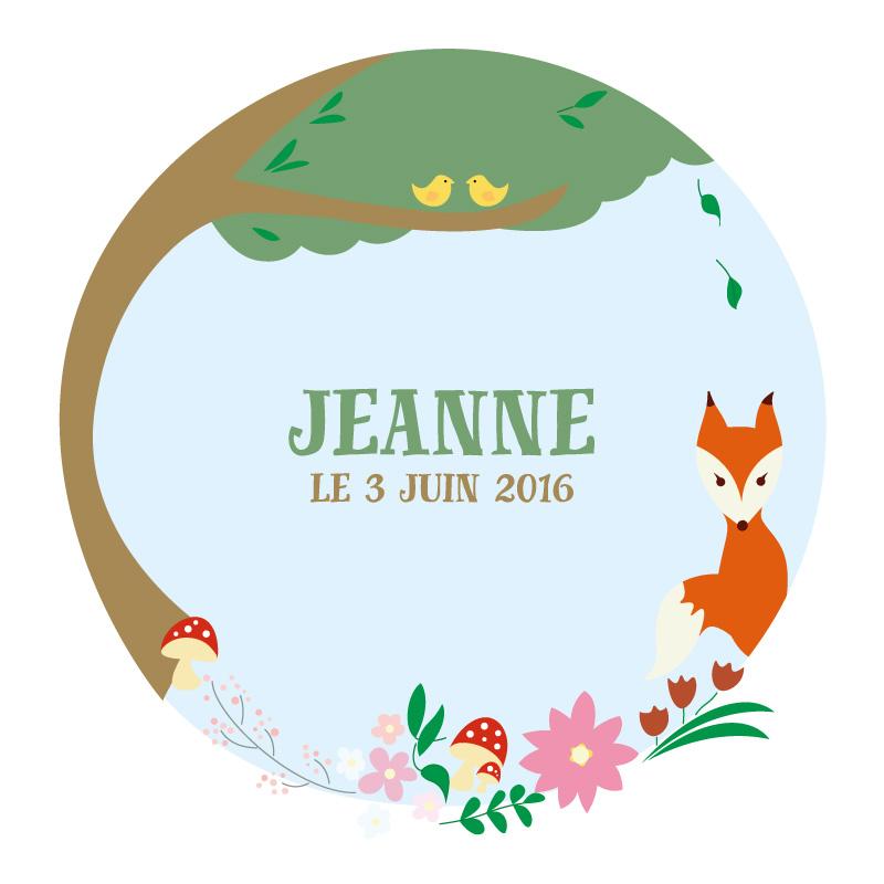 Faire part de naissance tout en aplats de couleurs avec un renard, des oiseaux, un arbre et des plantes crée par le rat et l'ours graphiste.