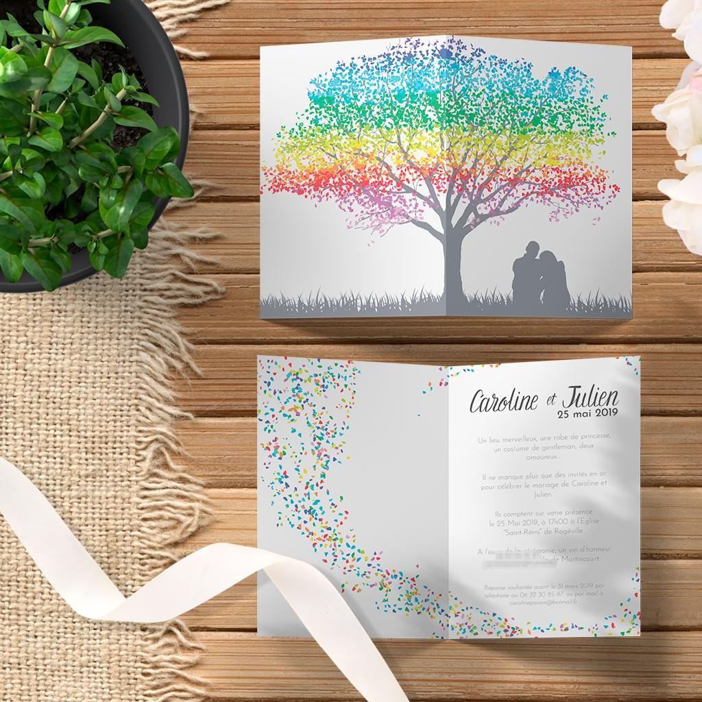Faire part de mariage tout en aplats de couleurs avec un arbre multicolore le rat et l'ours graphiste.
